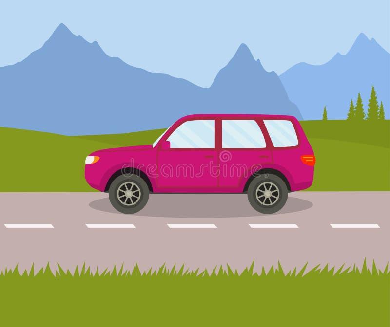 O carro na estrada nos campos ilustração stock