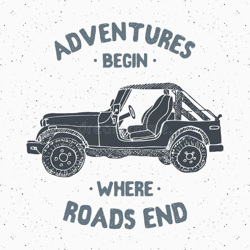 O carro Offroad de SUV, etiqueta do vintage, esboço tirado mão, grunge textured o crachá retro, cópia do t-shirt do projeto da ti ilustração stock