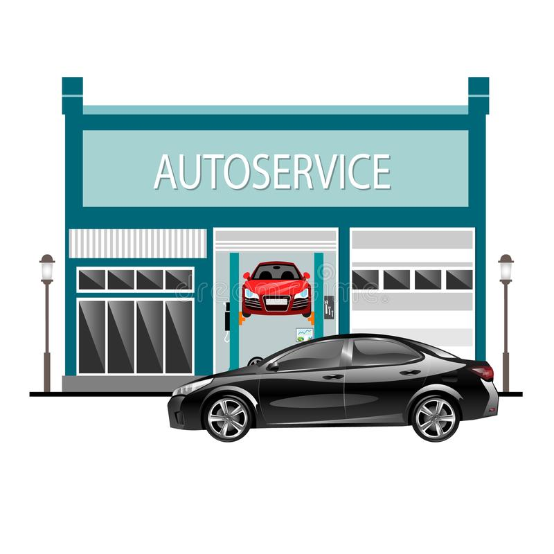 O carro presta serviços de manutenção à parte externa com o carro ilustração do vetor