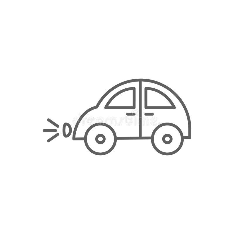 O carro retro do estilo com os faróis sobre girados esboça o ícone do vetor ilustração royalty free