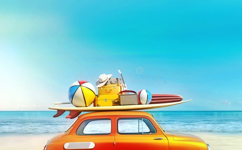 O carro retro pequeno com equipamento da bagagem, da bagagem e da praia no telhado, embalado inteiramente, apronta-se para as fér ilustração stock