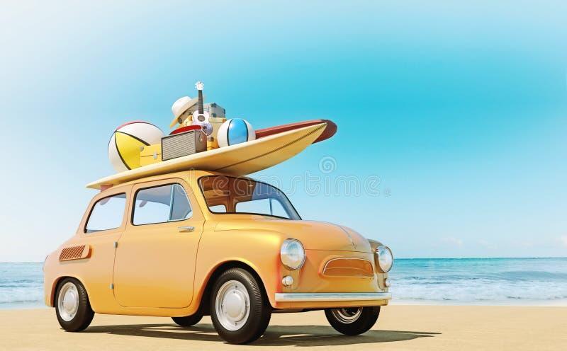 O carro retro pequeno com equipamento da bagagem, da bagagem e da praia no telhado, embalado inteiramente, apronta-se para as fér ilustração royalty free