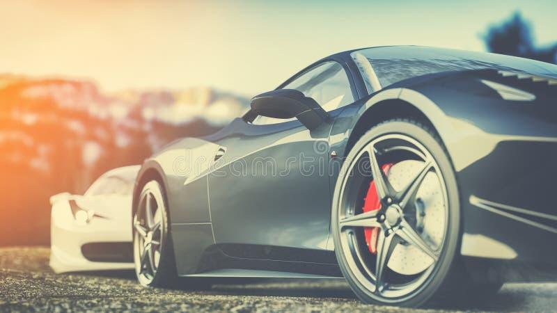 O carro super estacionou nas montanhas na manhã ilustração royalty free