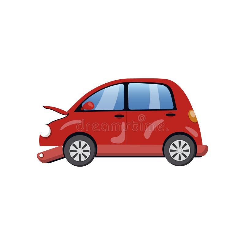 O carro vermelho danificou em uma ilustração do vetor dos desenhos animados do acidente de viação ilustração do vetor