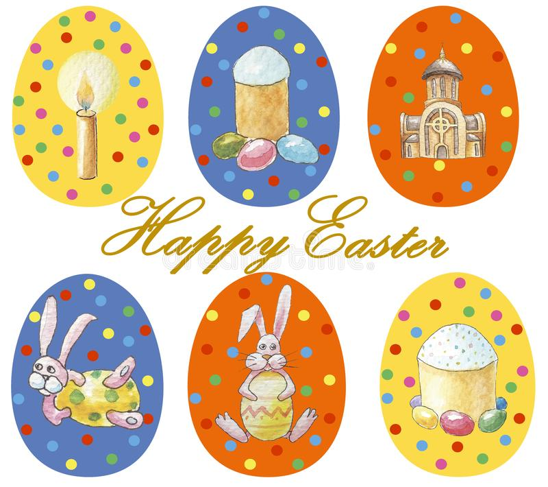 O cartão 'Páscoa feliz 'ajustou-se de ovos da páscoa coloridos com teste padrão diferente e a ilustração no tema de easter isolad ilustração do vetor