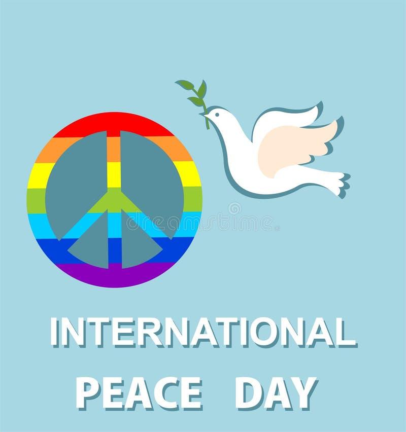 O cartão azul com papel cortou a pomba e o símbolo de paz com o arco-íris para o dia internacional da paz Projeto liso ilustração do vetor