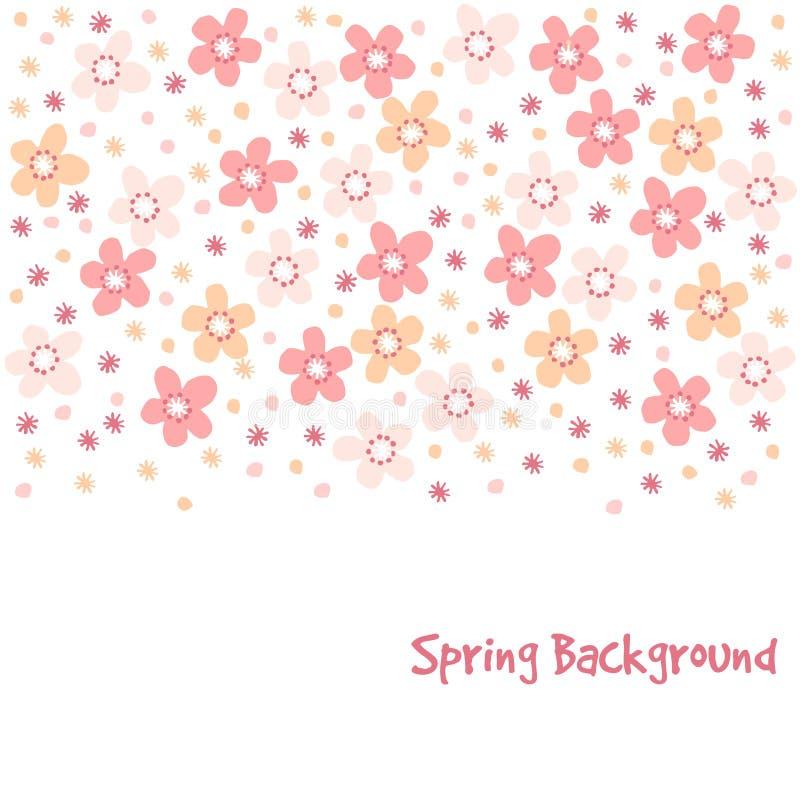 O cartão bonito da mola com árvore de cereja floresce, ilustração, fundo floral do teste padrão ilustração stock