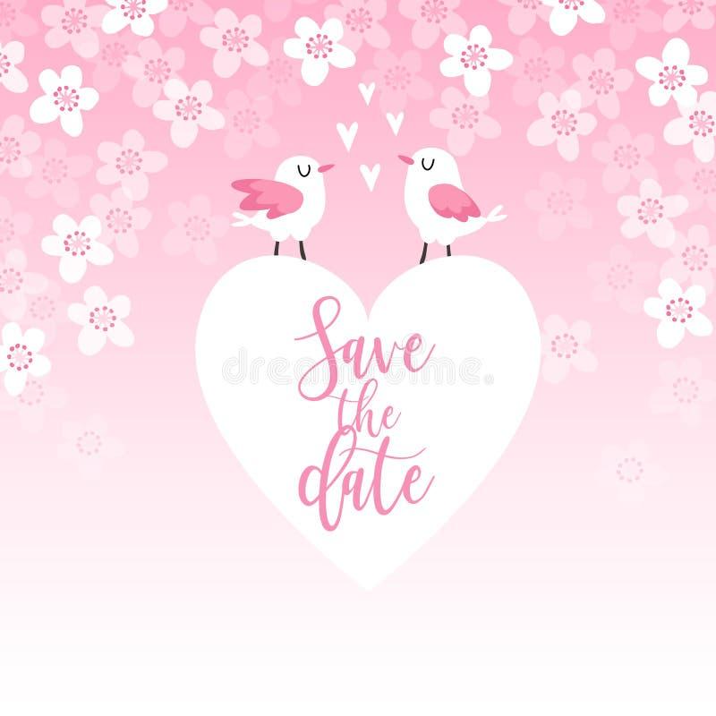 O cartão bonito da mola, o convite do casamento com pares de árvore dos pássaros, do coração e de cereja florescem Conceito do am ilustração royalty free