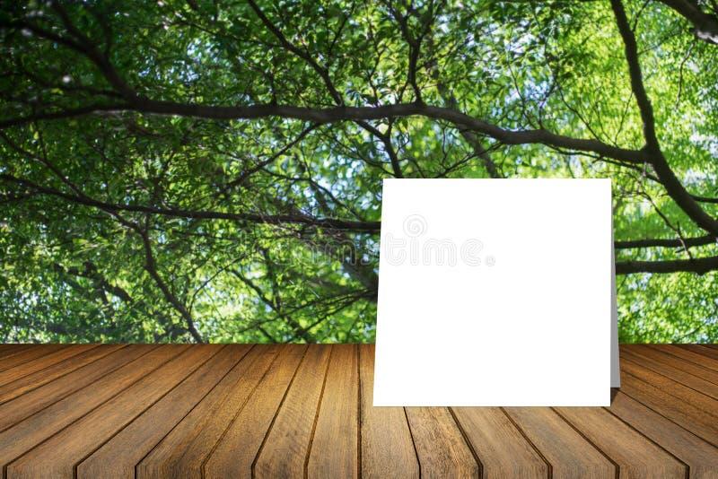 O cartão branco pôs sobre a mesa de madeira ou o assoalho de madeira sobre o fundo verde borrado da natureza da árvore uso para o fotos de stock