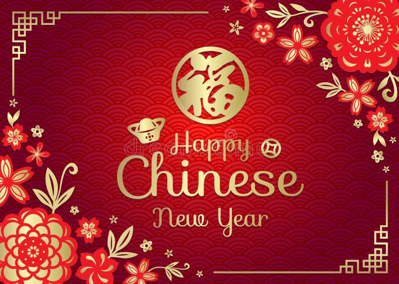 O cartão chinês feliz do ano novo com boa fortuna do meio chinês da palavra no vetor da arte do quadro da porcelana das flores de ilustração do vetor