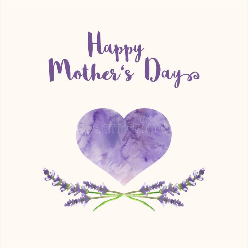 O cartão com dia de mãe feliz do texto, coração encheu-se pela textura da aquarela e pela alfazema handpainted ilustração royalty free