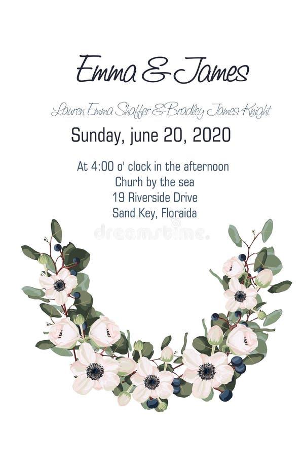O cartão com elemento floral das anêmonas, do eucalipto e das bagas no estilo da aquarela, pode ser usado como o cartão do convit ilustração stock