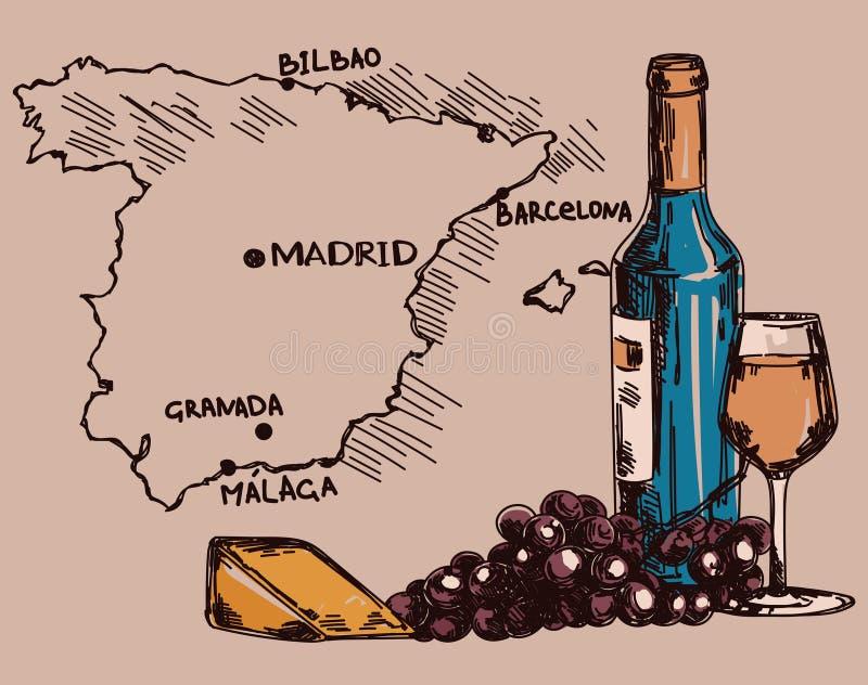 O cartão com garrafa de vinho, o vidro e o queijo e a Espanha traçam ilustração royalty free