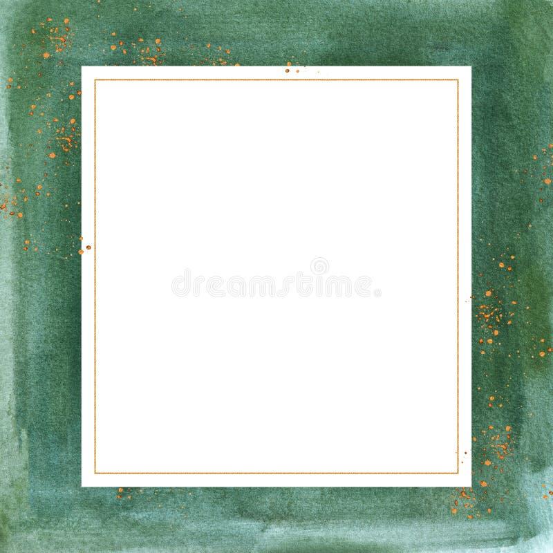 O cartão com lavagens do verde da aquarela e dourado Pre-feitos vintage espirram ilustração stock