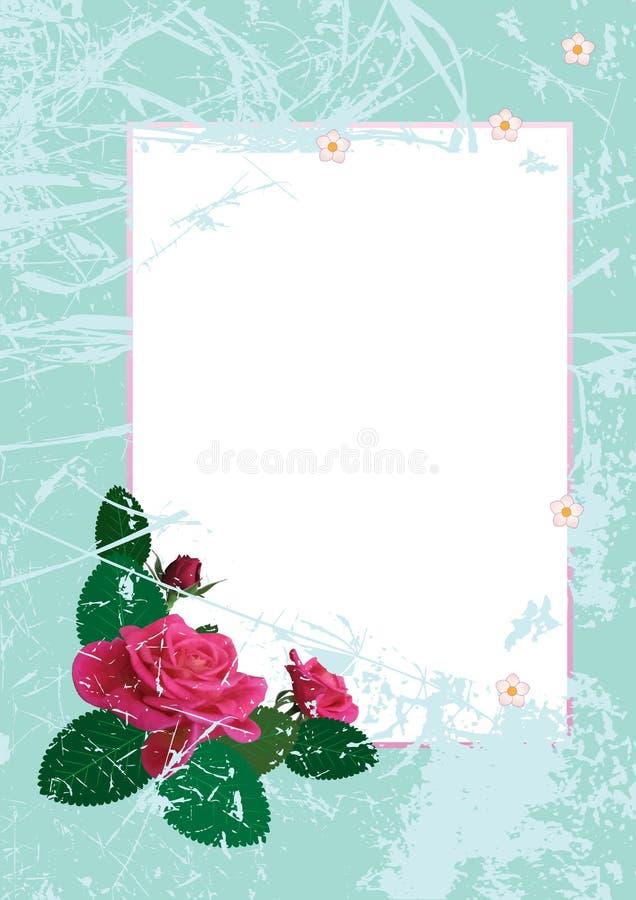 O cartão com levantou-se ilustração stock