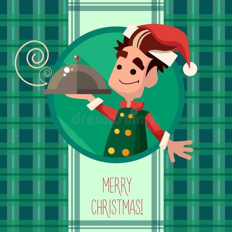 O cartão com o duende dos desenhos animados para o Natal e o ano novo party ilustração stock