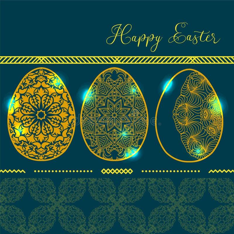 O cartão com os três ovos da páscoa de incandescência dourados com patt da mandala ilustração royalty free