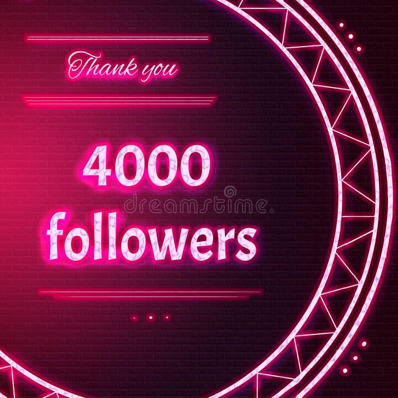 O cartão com texto de néon cor-de-rosa agradece-lhe quatro mil 4000 seguidores imagens de stock royalty free