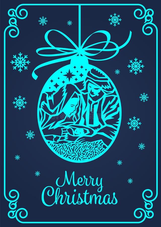 O cartão da bandeira do Feliz Natal com arte mary e Joseph do corte do papel em um comedoiro com bebê Jesus na bola e na neve do  ilustração stock