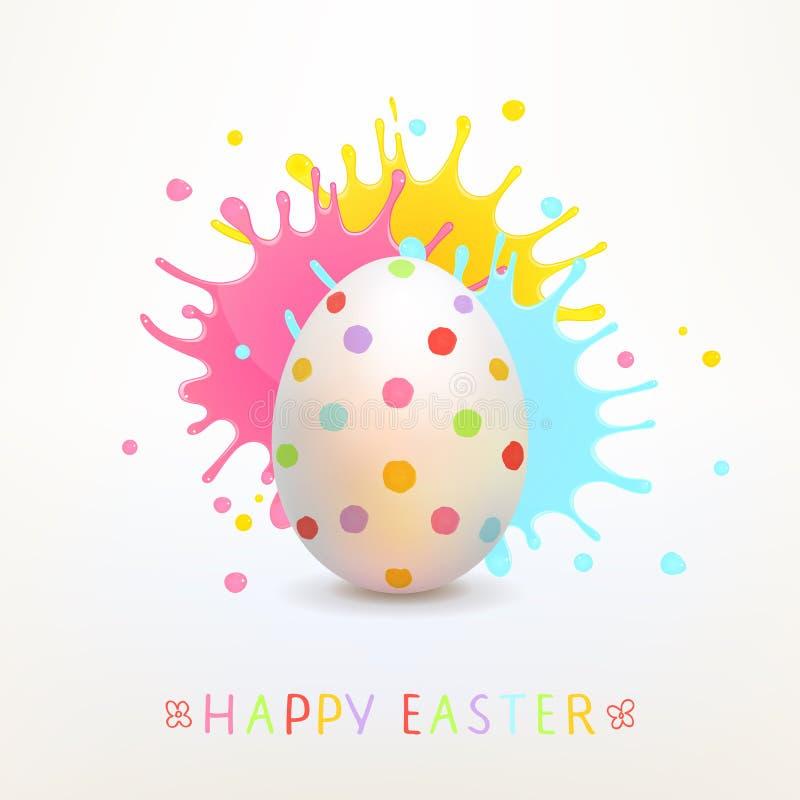 O cartão da Páscoa com ovo pintado e pintura brilhante espirra ilustração stock