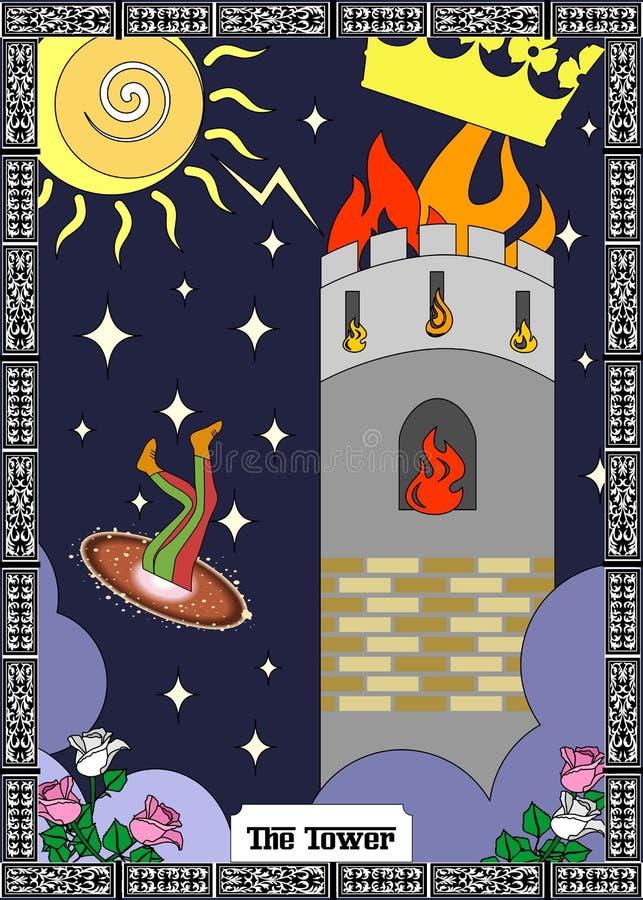 O cartão da torre ilustração stock