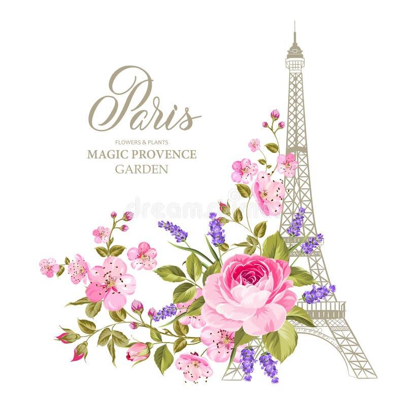 O cartão da torre Eiffel ilustração royalty free