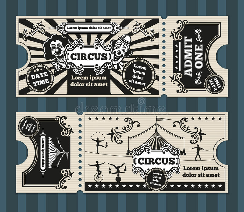 O cartão de aniversário com circo tickets o molde do vetor ilustração stock