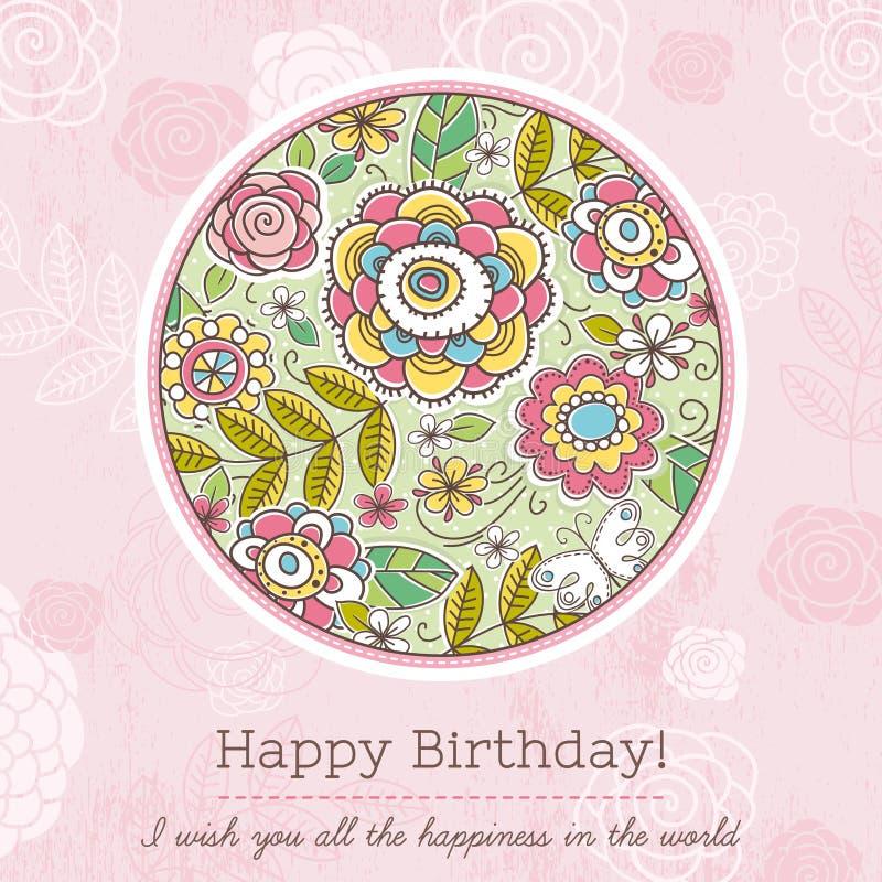 O cartão de aniversário cor-de-rosa com círculo grande da mola floresce, vetor ilustração stock