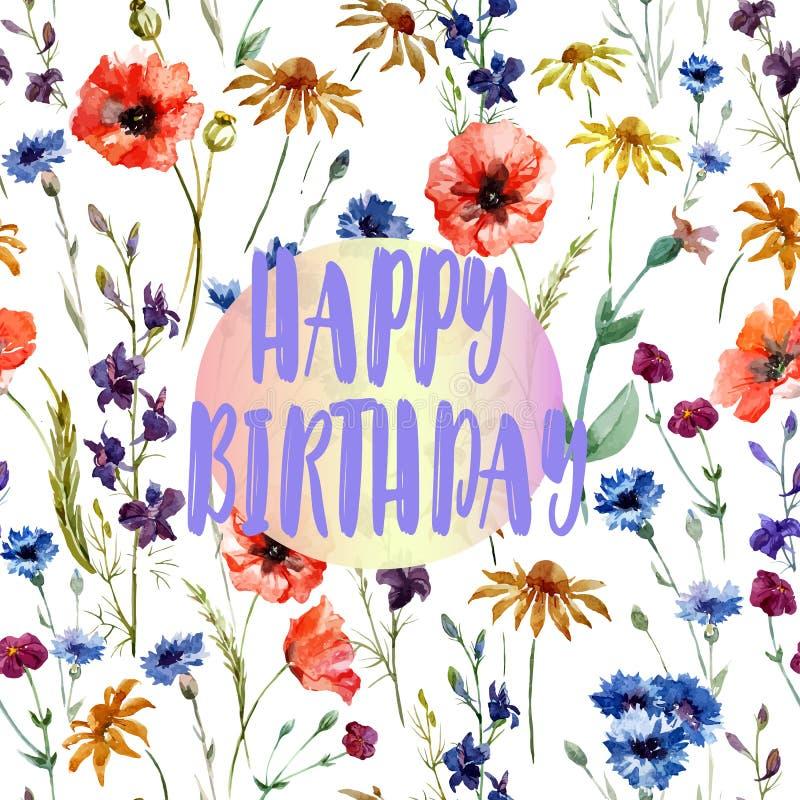 O cartão de aniversário - felicitações bonitas - campo da aquarela floresce ilustração stock