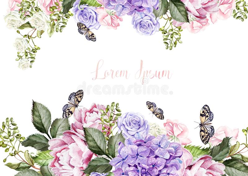 O cartão de casamento bonito, convite com hudrangea, flores da peônia e aumentou ilustração royalty free