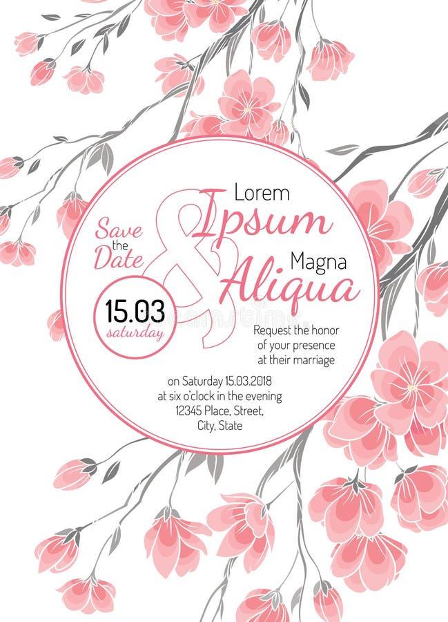 O cartão de casamento do convite com cereja sakura floresce o molde do vetor ilustração stock