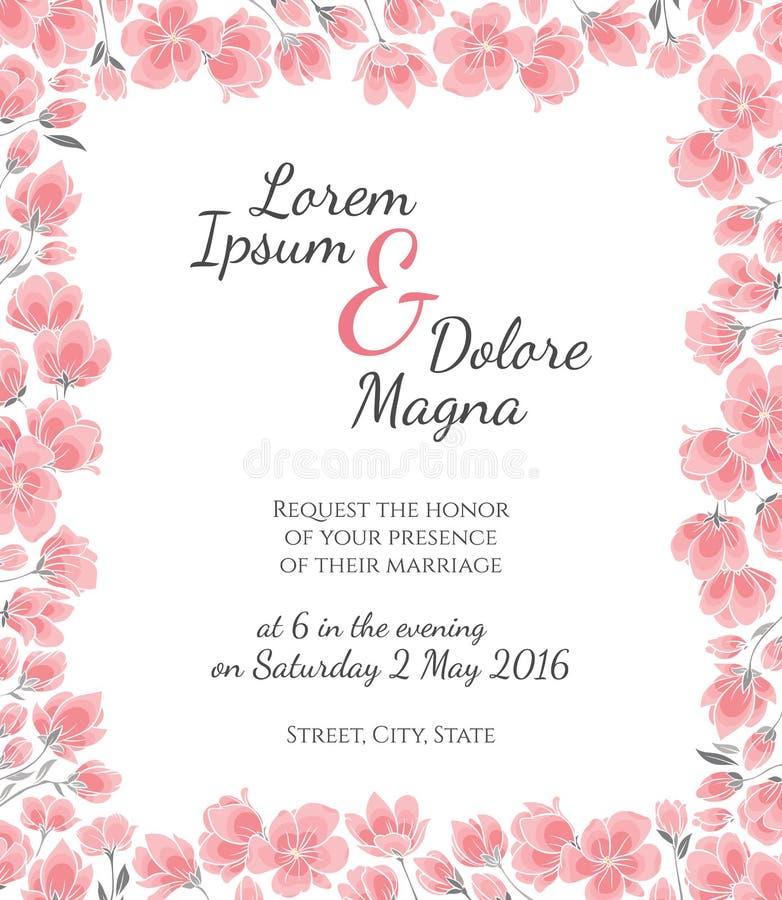 O cartão de casamento do convite com cereja sakura floresce o molde do vetor ilustração do vetor