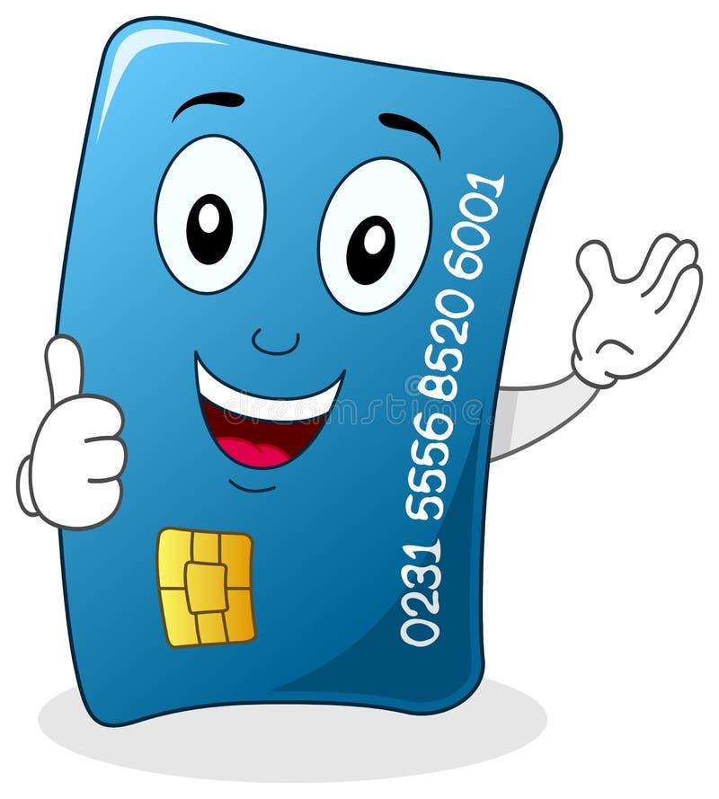O cartão de crédito com polegares levanta o caráter ilustração stock