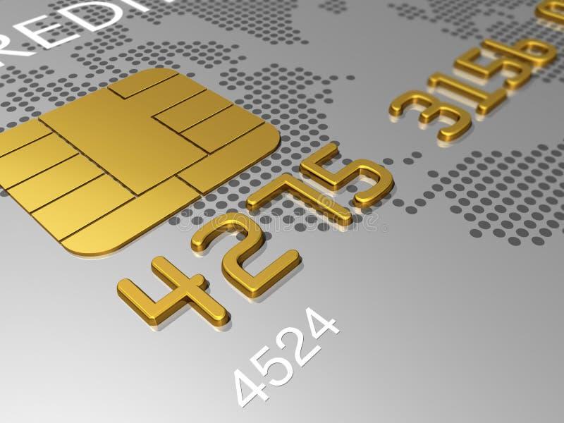 O cartão de crédito de prata, macro 3D rende ilustração do vetor
