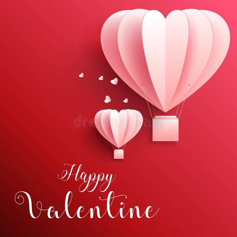 O cartão de cumprimentos feliz do dia de Valentim com papel realístico cortou a forma do coração que voa o balão de ar quente no  ilustração do vetor