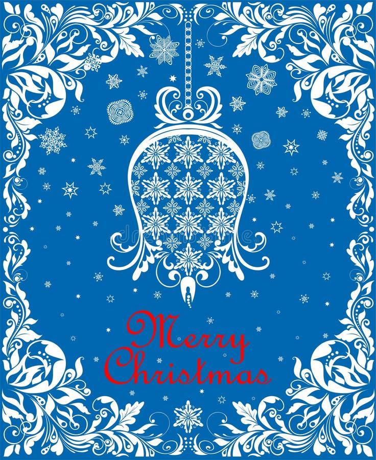 O cartão de Natal azul do vintage do cumprimento com papel floral cortou o sino de suspensão do whit, os flocos de neve e a beira ilustração do vetor