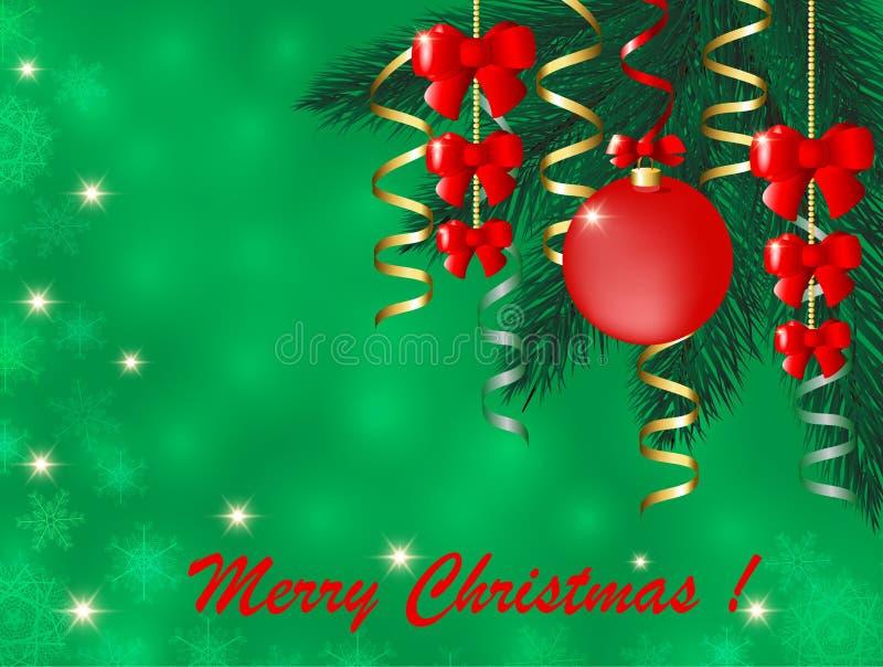 O cartão de Natal com a árvore de Natal abstrata e o cartão bowGreeting vermelho com um abeto ramificam com bolas do Natal e um r ilustração stock