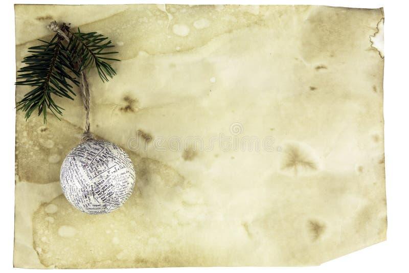 O cartão de Natal com a árvore do espaço e de Natal brinca fotos de stock