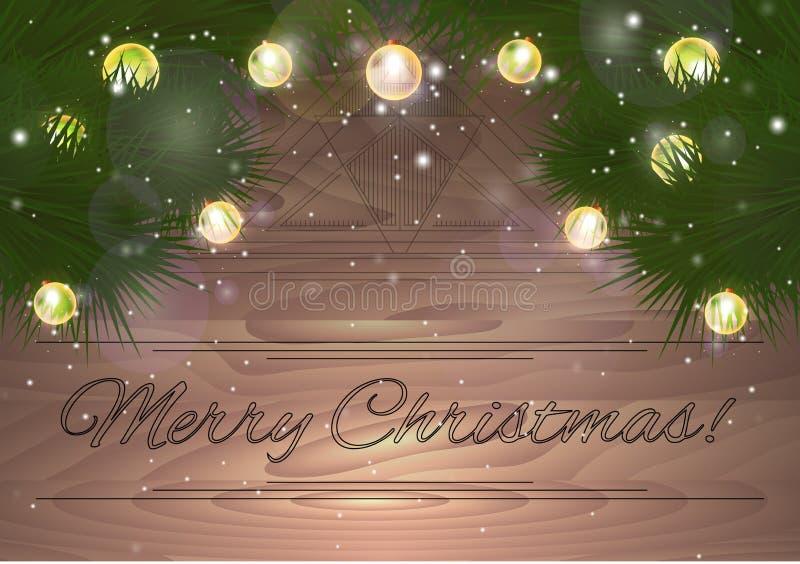 O cartão de Natal com abeto ramifica com luzes e sparkles ilustração stock