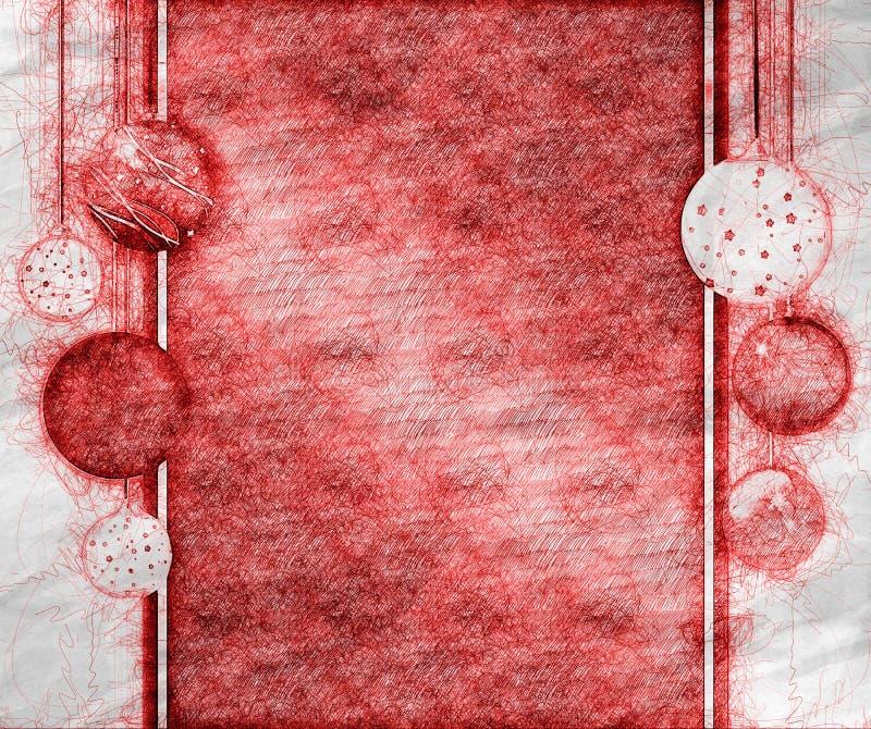O cartão de Natal com as bolas de suspensão do Natal tira à disposição o estilo ilustração do vetor
