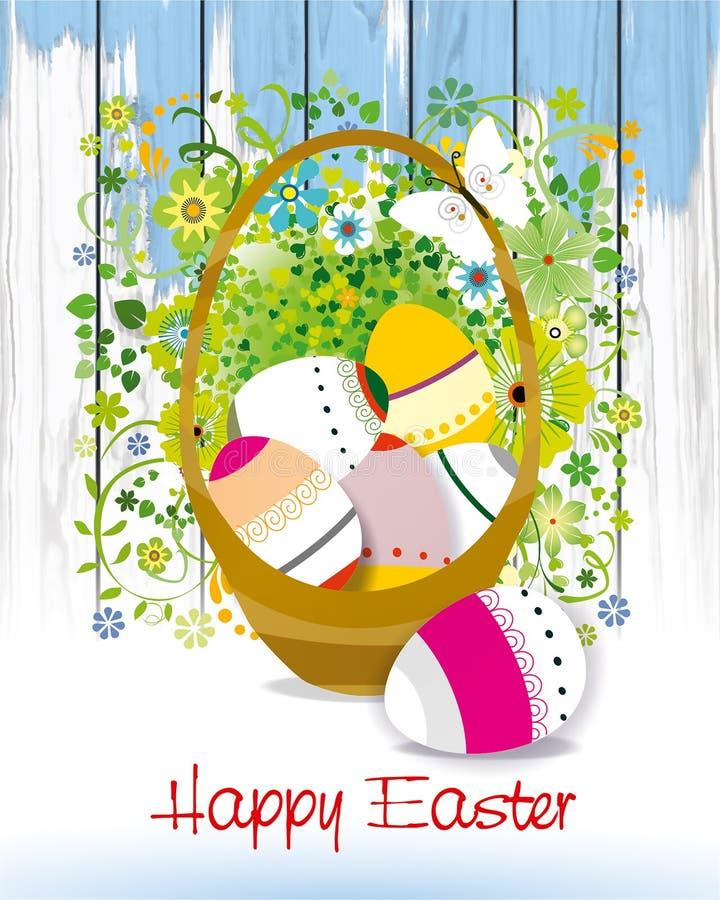 O cartão de Páscoa com ovo e mola coloridos floresce Cesta, projeto ilustração stock