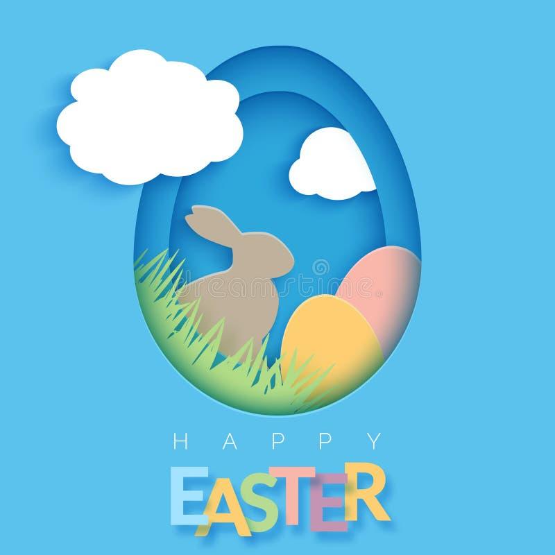 O cartão de Páscoa com papel cortou o quadro da forma do ovo O papel feliz da Páscoa cortou o ovo no fundo azul Cumprimento na mo ilustração royalty free