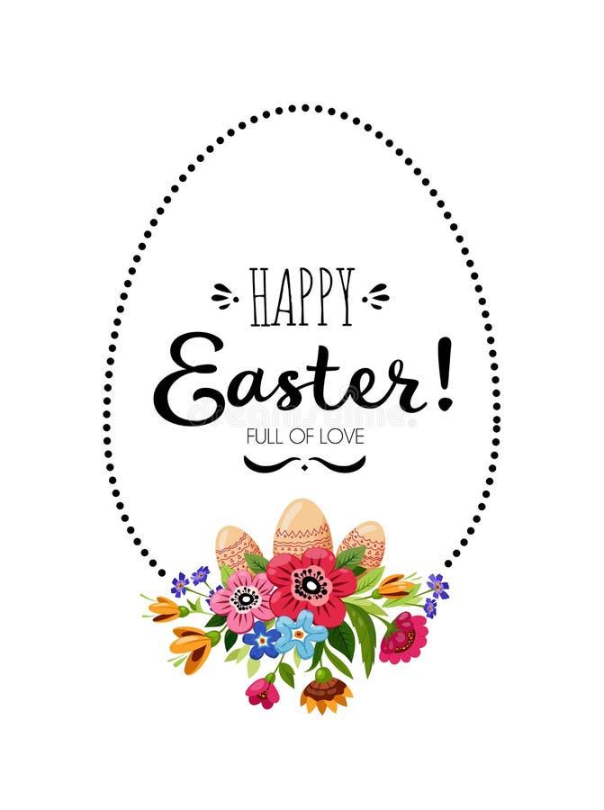 O cartão de Páscoa feliz com vetor floresce, ovos, folhas ilustração royalty free