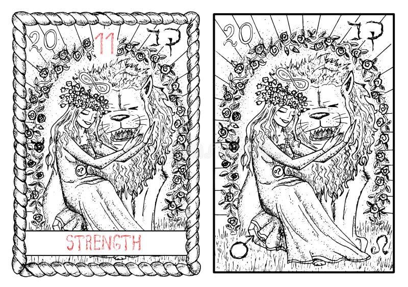 O cartão de tarô principal dos arcana A força ilustração royalty free