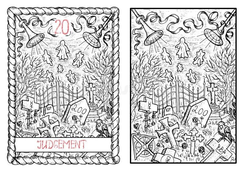O cartão de tarô principal dos arcana julgamento ilustração stock