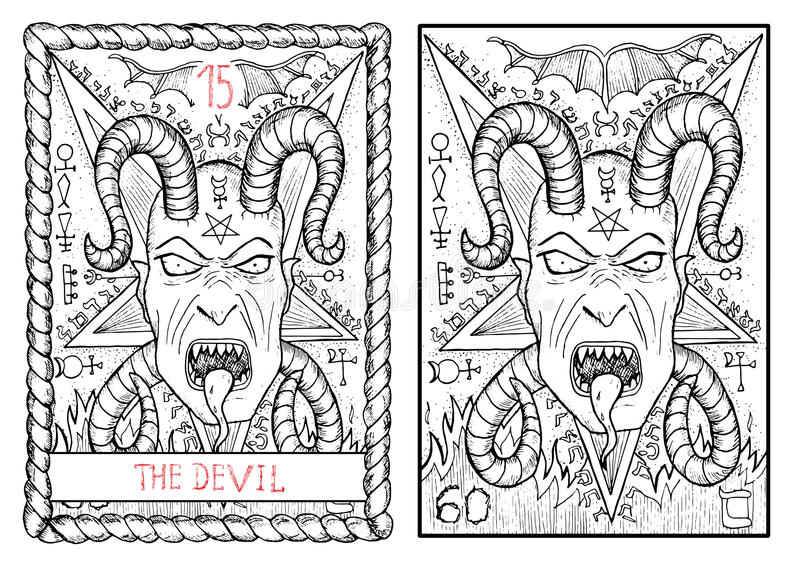 O cartão de tarô principal dos arcana O diabo ilustração do vetor