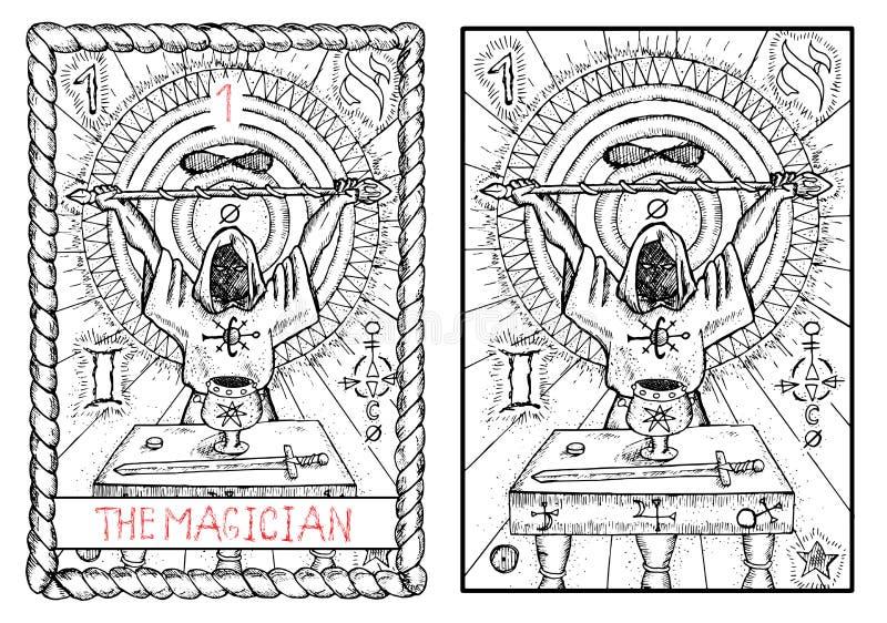 O cartão de tarô principal dos arcana O mágico ilustração stock