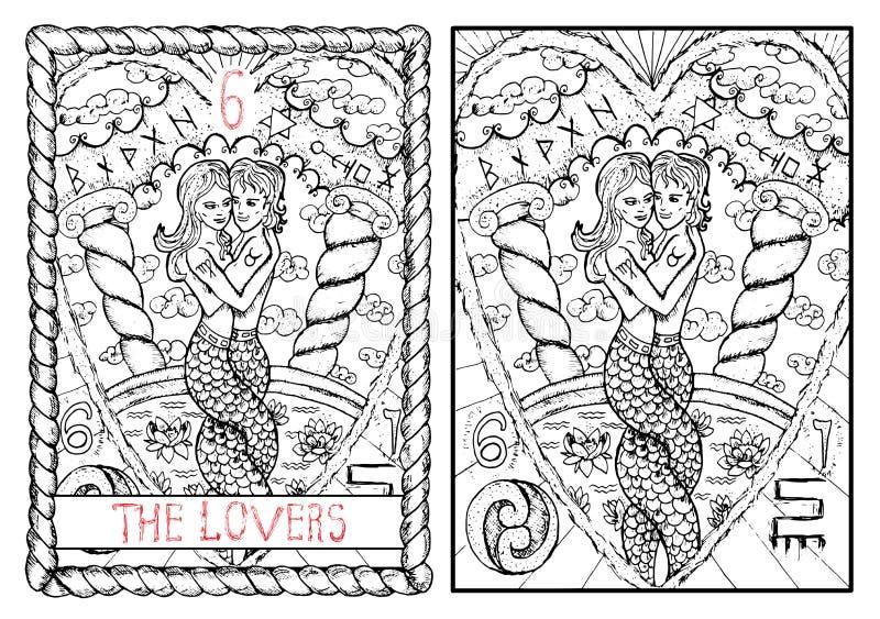 O cartão de tarô principal dos arcana Os amantes ilustração royalty free