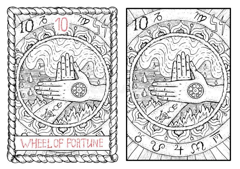 O cartão de tarô principal dos arcana Roda de fortuna ilustração royalty free