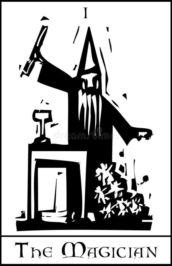 O cartão de Tarot do mágico ilustração royalty free